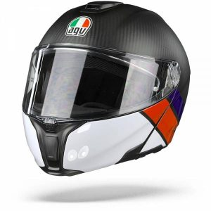 AGV Sportmodular Layer Carbon Casque Modulable Rouge Bleu 2XL