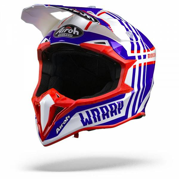 Airoh Wraap Broken Casque IntŽgral Bleu Rouge Brillant L