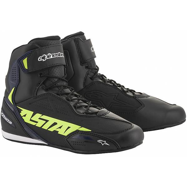 Alpinestars Faster-3 Black Yellow Fluo Blue Motorcycle Shoes 10.5