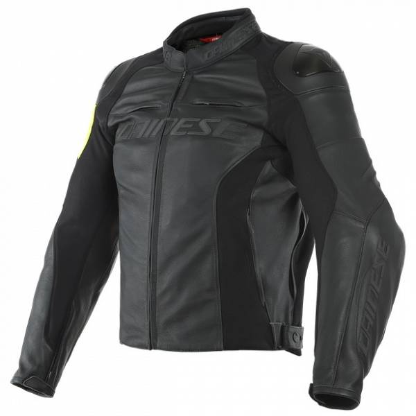Dainese VR46 Pole Position Black Fluo Yellow Leather Motorcycle Jacket 54
