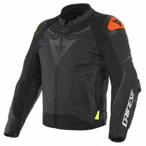 Dainese VR46 Victory Black Fluo Yellow Leather Motorcycle Jacket 56