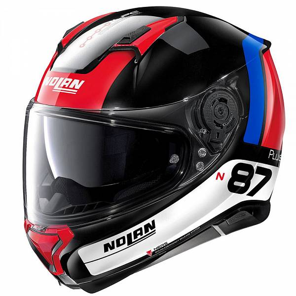 Nolan N87 Plus Distinctive 28 Casque IntŽgral Noir Brillant Rouge Bleu Blanc XL