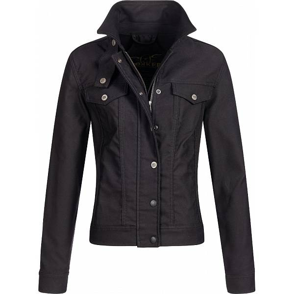 Rokker Black Jacket Lady Short Black Motorcycle Jacket M