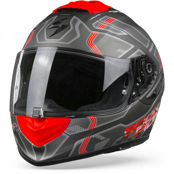 Scorpion EXO-1400 Air Spatium Casque IntŽgral Argent Rouge Mat XL
