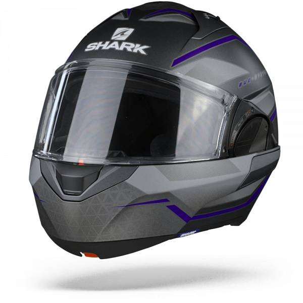 Shark Evo ES Yari ABS Casque Modulable Anthracite Bleu Argent L