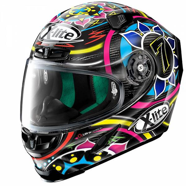 X-Lite X-803 Ultra Carbon 54 Davies Casque IntŽgral Carbone Noir Rose Bleu Rouge 2XL